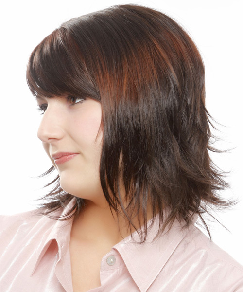 Medium Straight Casual Bob  Hairstyle with Layered Bangs  - Dark Brunette - Side on View