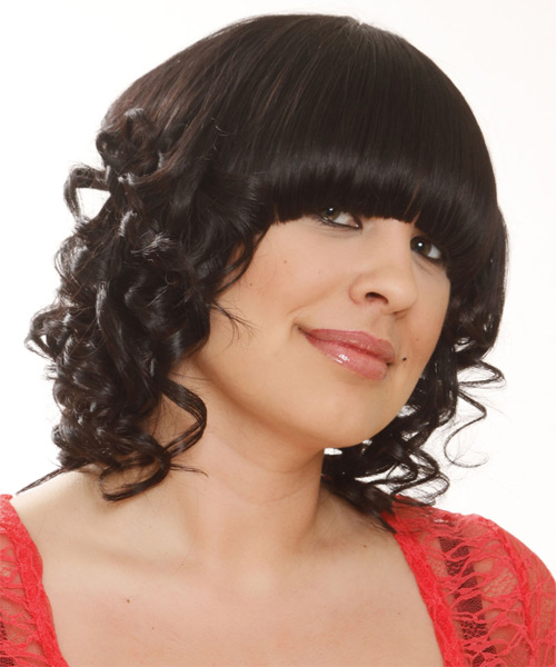 Medium Curly Formal   Hairstyle with Blunt Cut Bangs  - Black - Side on View