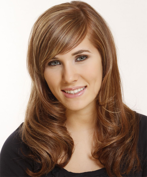 Long Straight   Light Brunette   Hairstyle with Side Swept Bangs  and  Blonde Highlights - Side on View