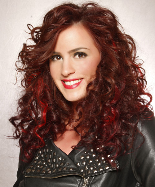 Long Curly    Chocolate Red   Hairstyle   with Light Red Highlights - Side on View