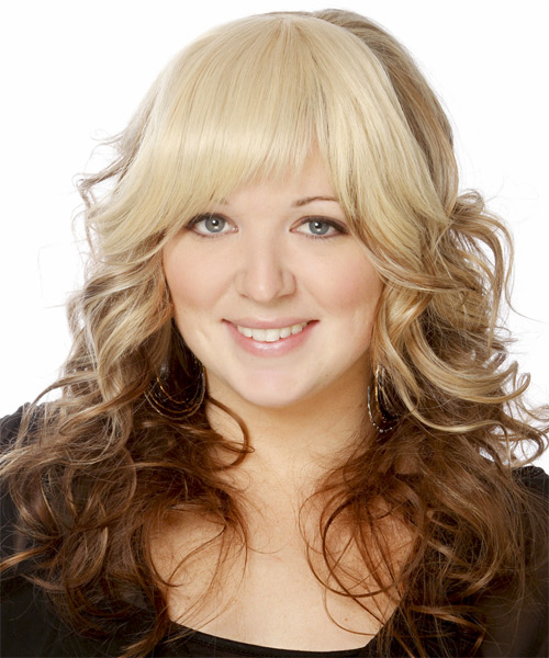 Long Wavy Formal   Hairstyle with Layered Bangs  - Light Blonde - Side on View