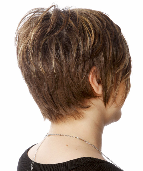 Short Straight    Chocolate Brunette   Hairstyle   with Light Blonde Highlights - Side on View