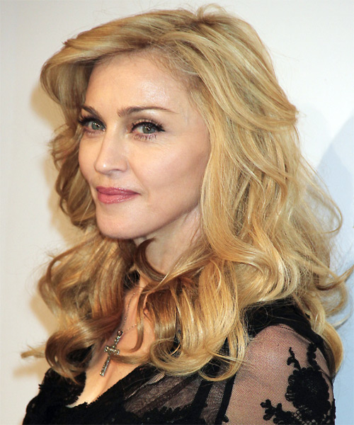 Madonna Long Wavy Casual   Hairstyle   - Light Blonde (Golden) - Side on View