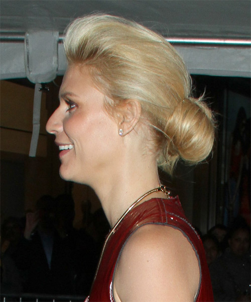 Claire Danes  Long Straight    Golden Blonde  Updo    with Light Blonde Highlights - Side on View