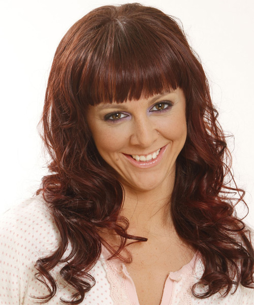 Long Wavy Casual   Hairstyle with Blunt Cut Bangs  - Medium Brunette (Mahogany) - Side on View
