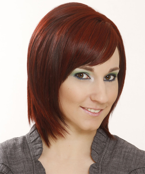 Medium Straight Formal Bob  Hairstyle with Side Swept Bangs  - Medium Red - Side on View