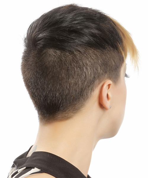 Short Straight Alternative Undercut  Hairstyle with Side Swept Bangs  - Dark Brunette - Side on View