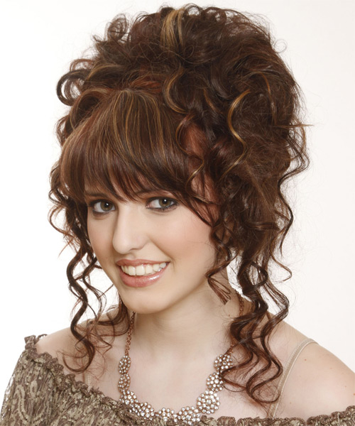 Updo Long Curly Formal Wedding Updo Hairstyle with Layered Bangs  - Medium Brunette (Chestnut) - Side on View