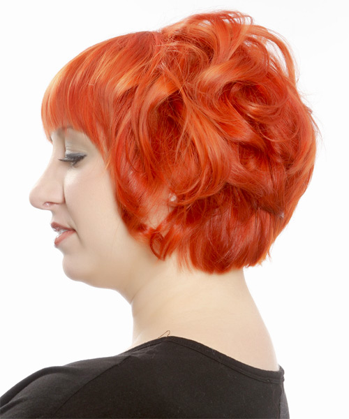 Short Wavy Formal Emo  Hairstyle with Layered Bangs  - Orange - Side on View