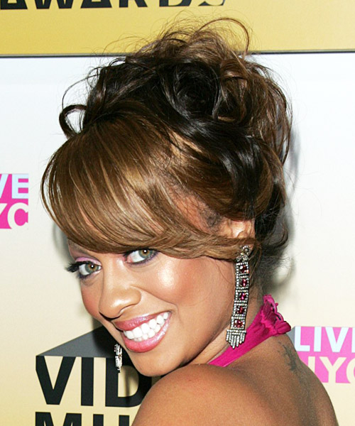 La La Anthony  Long Curly Formal   Updo Hairstyle   - Side on View