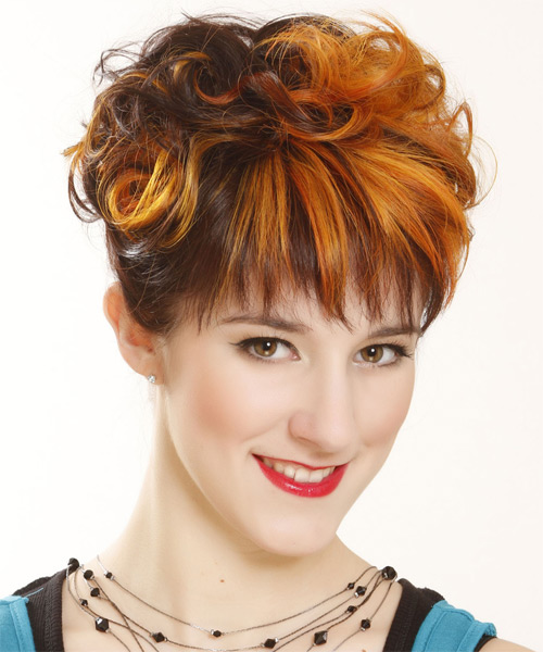 Short Curly Formal   Hairstyle with Layered Bangs  - Dark Brunette (Ginger) - Side on View