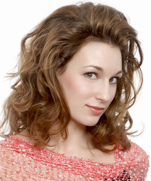Medium Wavy Casual   Hairstyle   - Light Brunette (Caramel) - Side on View