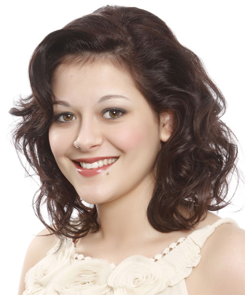 Medium Wavy Casual   Hairstyle   - Dark Brunette (Auburn) - Side on View