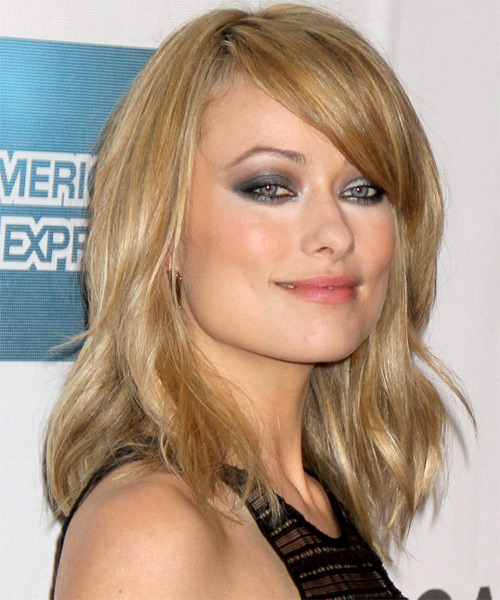 Olivia Wilde Medium Straight Casual    Hairstyle with Side Swept Bangs  -  Golden Blonde Hair Color with Light Blonde Highlights - Side on View