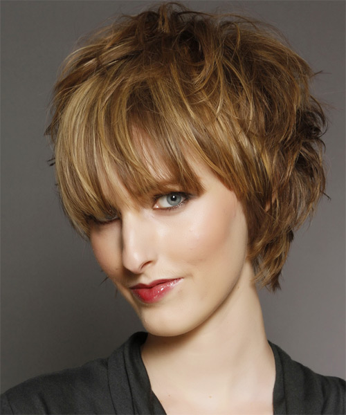 Short Straight   Light Golden Brunette   Hairstyle with Blunt Cut Bangs  and Light Blonde Highlights - Side on View