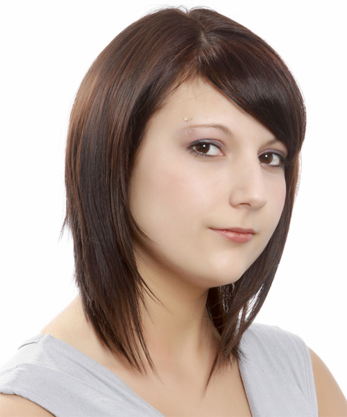 Medium Straight   Dark Mocha Brunette Bob  Haircut with Side Swept Bangs  - Side on View