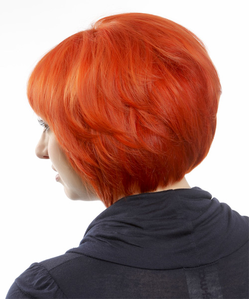 Short Straight Casual Bob  Hairstyle with Blunt Cut Bangs  - Orange - Side on View