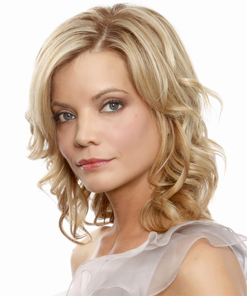 Medium Wavy Formal   Hairstyle   - Medium Blonde (Champagne) - Side on View