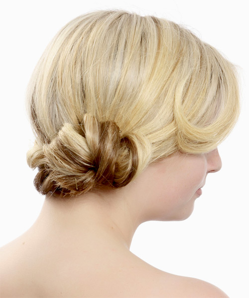 Long Straight   Light Blonde and  Brunette Two-Tone  Updo    with Light Blonde Highlights - Side on View