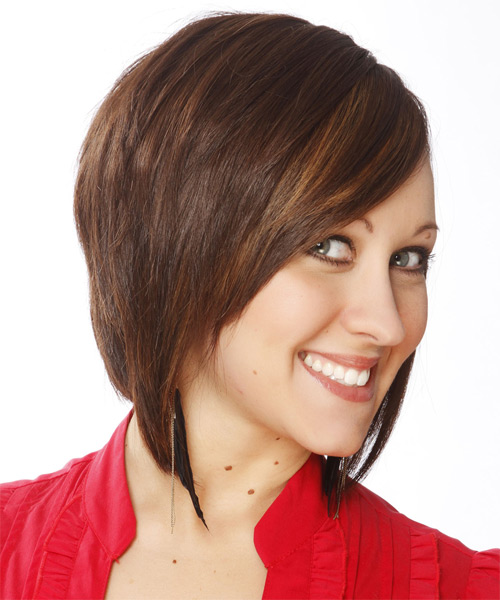Medium Straight Layered   Chestnut Brunette Bob  Haircut   - Side on View