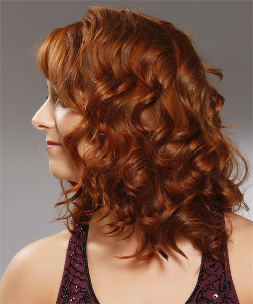 Medium Curly Formal   Hairstyle with Side Swept Bangs  - Medium Red (Copper) - Side on View