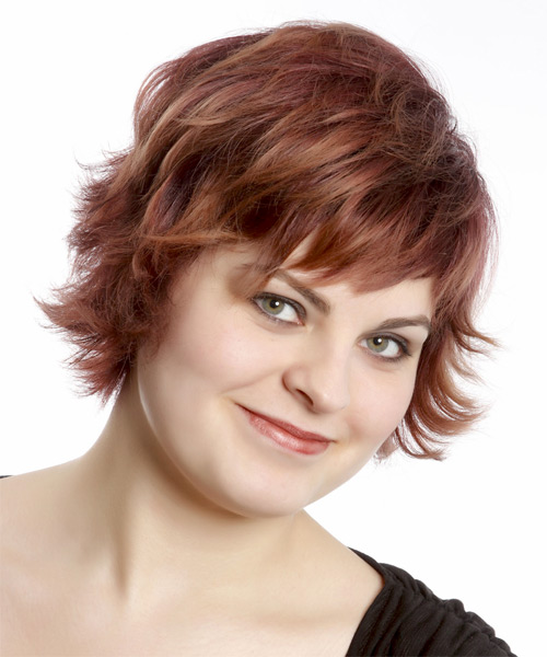 Short Straight Casual    Hairstyle with Razor Cut Bangs  - Burgundy Hair Color - Side on View