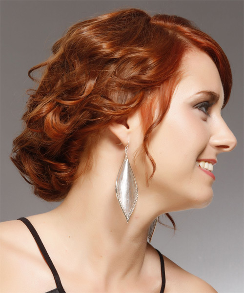 Medium Curly Formal   Updo Hairstyle with Side Swept Bangs  -  Copper Red Hair Color - Side on View