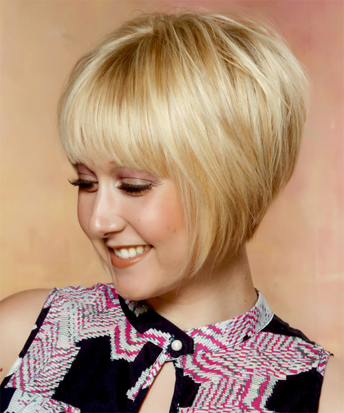 Short Straight   Light Golden Blonde Bob  Haircut with Layered Bangs  and Light Blonde Highlights - Side on View
