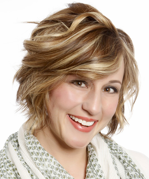 Short Wavy Formal Bob  Hairstyle with Side Swept Bangs  - Medium Brunette (Caramel) - Side on View