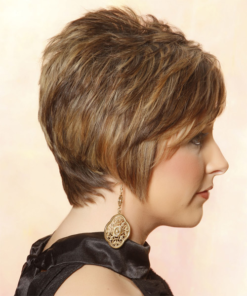 Short Straight Casual    Hairstyle with Side Swept Bangs  -  Caramel Brunette Hair Color with  Blonde Highlights - Side on View
