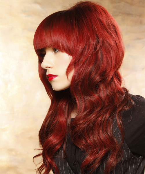 Long Wavy Casual   Hairstyle with Blunt Cut Bangs  - Medium Red (Bright) - Side on View
