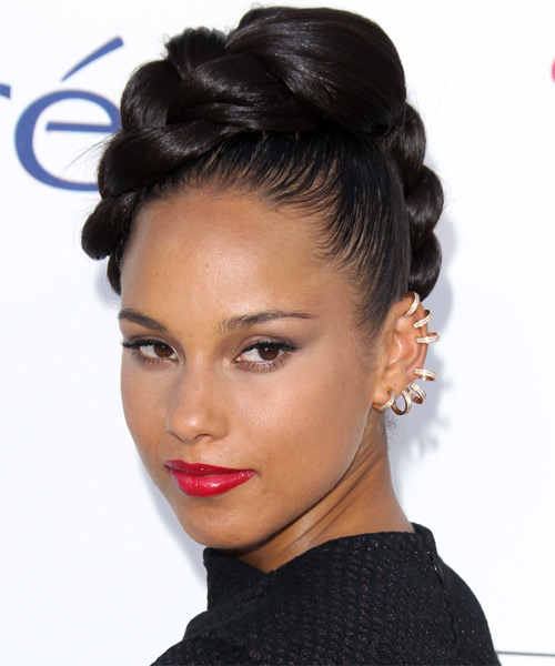 Alicia Keys  Long Straight   Dark Mocha Brunette Braided Updo    - Side on View