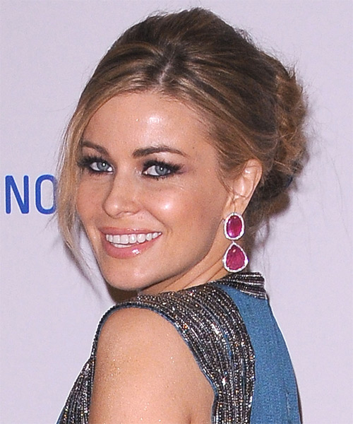 Carmen Electra Updo Long Straight Formal  Updo Hairstyle with Side Swept Bangs  - Dark Brunette - Side on View