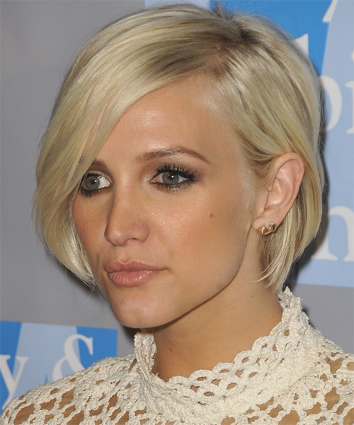 Ashlee Simpson Short Straight Casual Layered Bob  Hairstyle   - Light Platinum Blonde Hair Color - Side on View