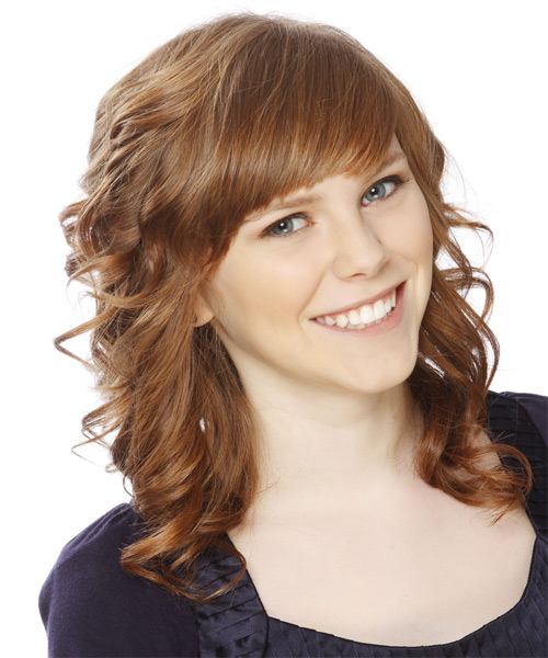 Medium Curly   Light Caramel Brunette   Hairstyle with Side Swept Bangs  - Side on View