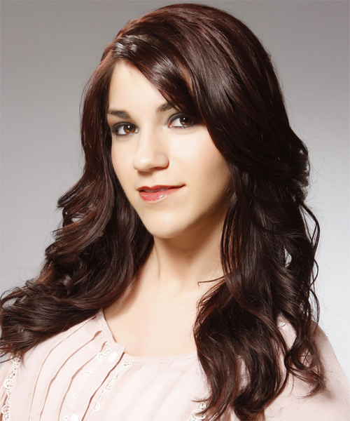 Long Wavy Casual   Hairstyle   - Dark Brunette (Burgundy) - Side on View