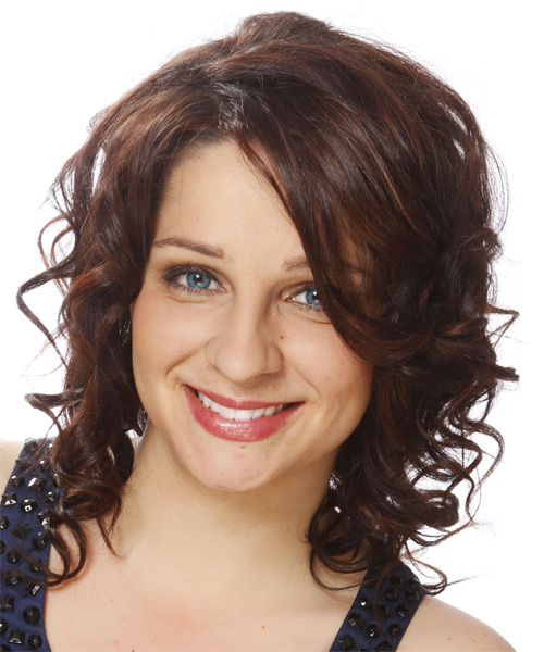 Medium Curly   Dark Chocolate Brunette   Hairstyle   - Side on View