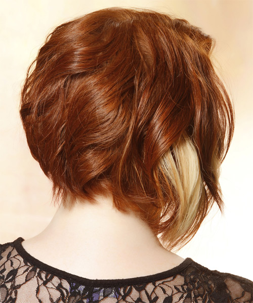 Medium Straight Layered   Copper Red Bob  Haircut with Side Swept Bangs  and Light Blonde Highlights - Side on View