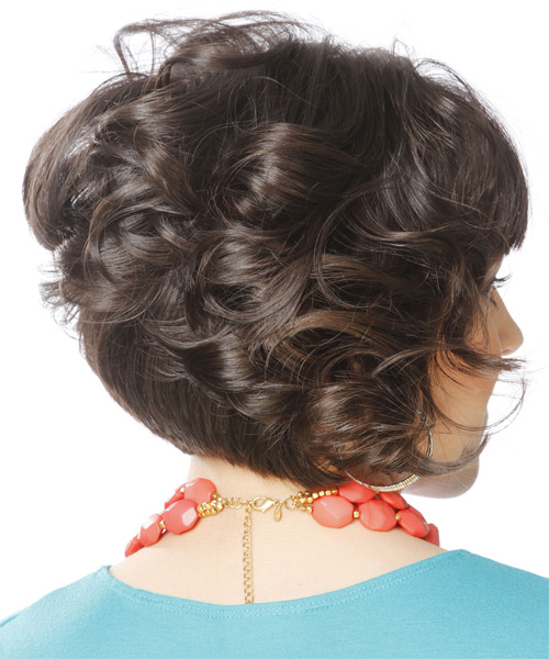 Short Curly Formal   Hairstyle with Layered Bangs  - Dark Brunette (Mocha) - Side on View