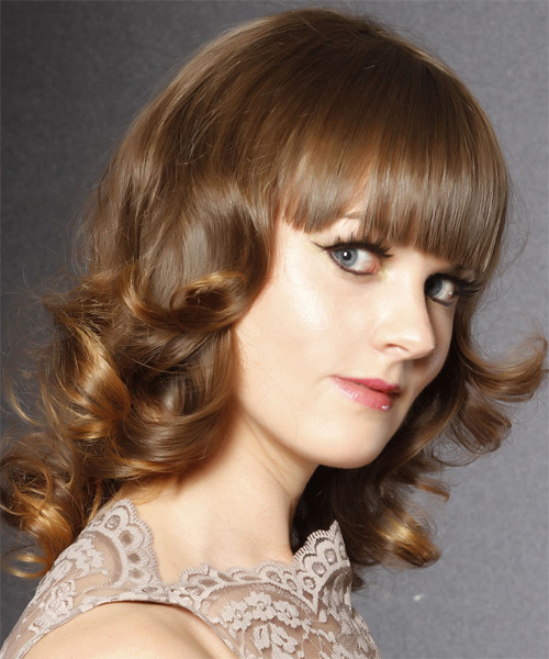 Medium Curly    Caramel Brunette   Hairstyle with Blunt Cut Bangs  - Side on View