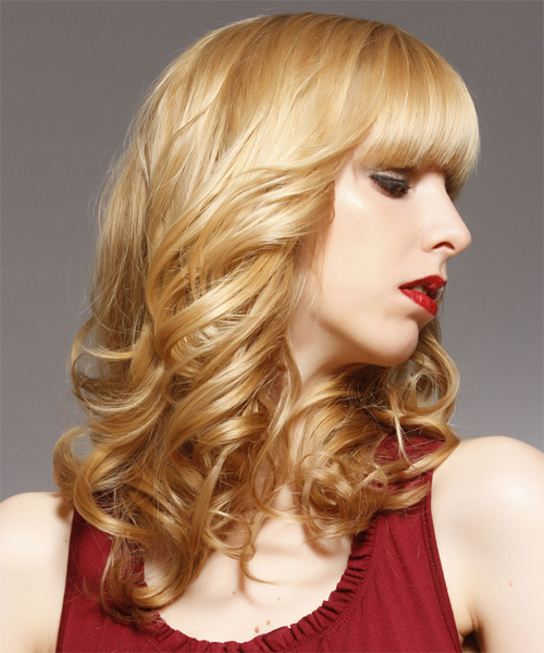 Long Curly Formal   Hairstyle with Blunt Cut Bangs  - Medium Blonde (Honey) - Side on View