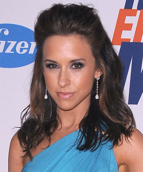Lacey Chabert  Long Straight Casual   Half Up Hairstyle   - Dark Brunette Hair Color with Dark Blonde Highlights - Side on View