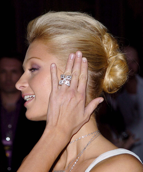 Paris Hilton  Medium Straight   Light Strawberry Blonde  Updo    - Side on View