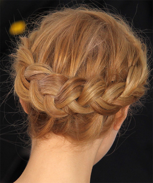 Sarah Gadon  Long Curly Formal  Braided Updo Hairstyle   -  Golden Blonde Hair Color - Side on View