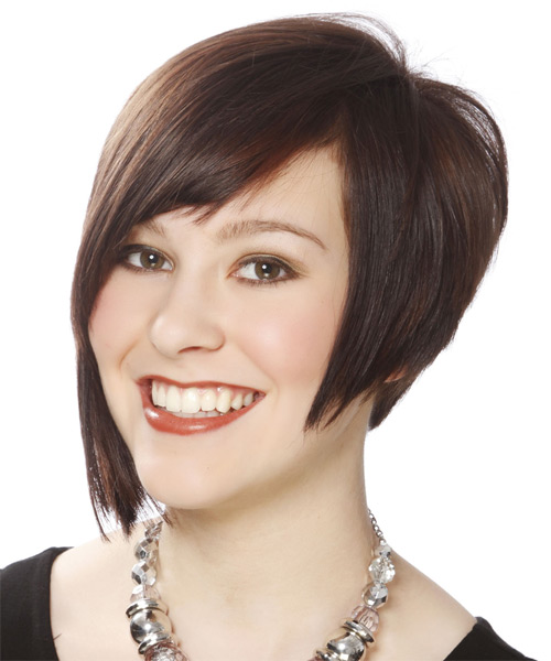 Short Straight Layered   Brunette Bob  Haircut with Side Swept Bangs  - Side on View