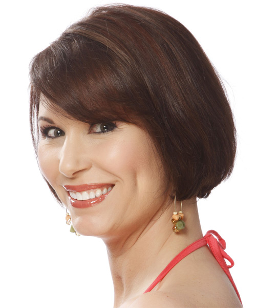 Short Straight Layered   Chocolate Brunette Bob  Haircut with Side Swept Bangs  - Side on View