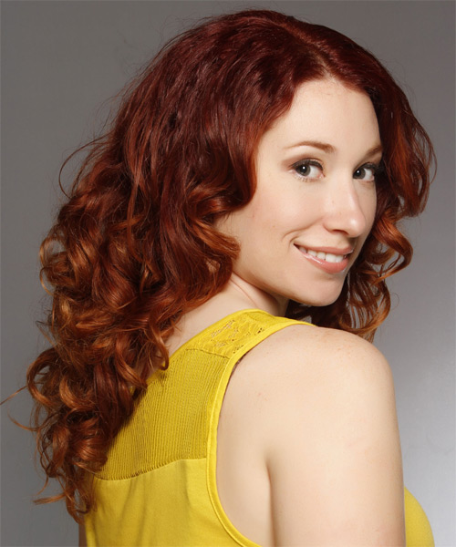Long Curly Casual   Hairstyle   - Medium Red (Copper) - Side on View
