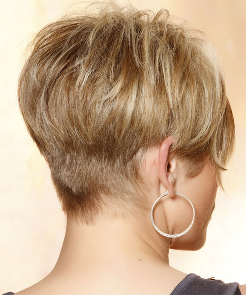 Short Straight Casual    Hairstyle with Side Swept Bangs  - Medium Caramel Blonde Hair Color with Light Blonde Highlights - Side on View