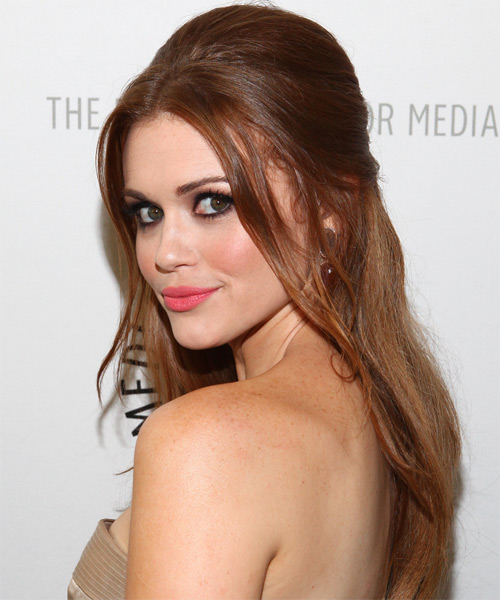 Holland Roden  Long Straight Casual   Half Up Hairstyle   - Medium Chestnut Brunette Hair Color - Side on View