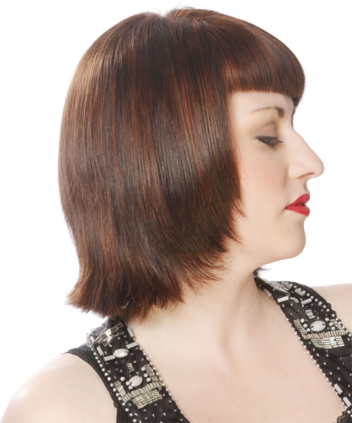 Short Straight Formal Layered Bob  Hairstyle with Blunt Cut Bangs  -  Brunette Hair Color - Side on View